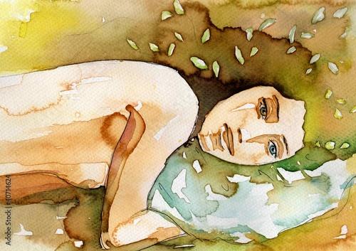 Fototapety, obrazy: leżąca akt kobiecy