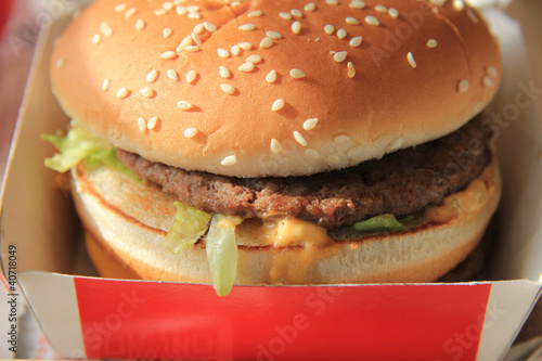 Hamburger in a carton box