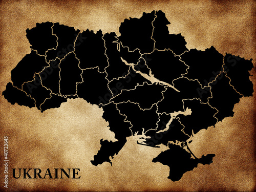 Map of Ukraine Canvas Print