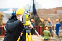 Surveyor Works With Theodolite