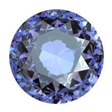 Round Blue Gemstone On White Background.  Benitoit. Sapphire. Io