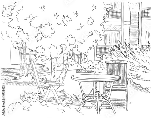 Deurstickers Drawn Street cafe Cafe in the Garden