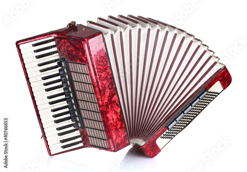 Cuadros en Lienzo Retro accordion isolated on white
