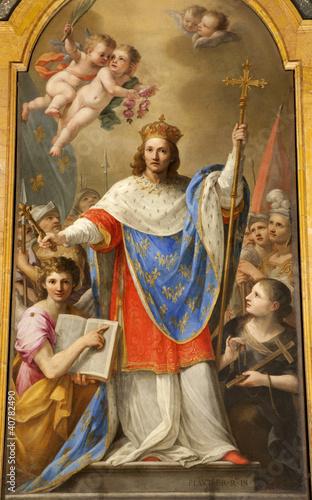 Cuadros en Lienzo Rome - paint of holy king of France Louis IX from San Liugi
