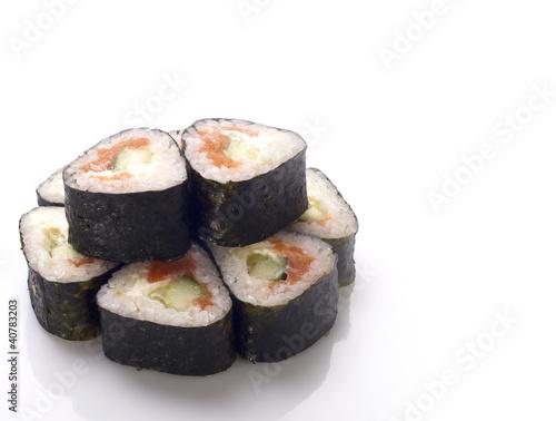 Printed kitchen splashbacks Sushi bar sushi roll isolated on white
