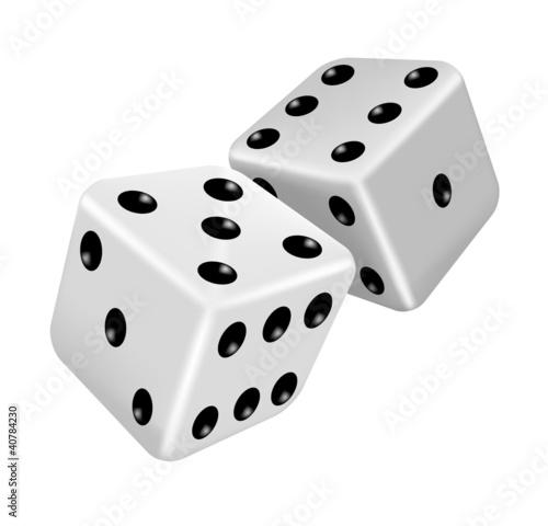 Photo Two white dice