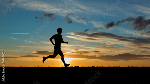 Poster Jogging Jogger bei Sonnenaufgang
