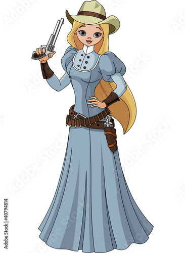 Deurstickers Wild West Wild west. Young cowgirl