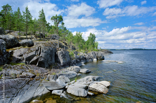 Stony shore of Ladoga lake, Karelia, Russia Tablou Canvas