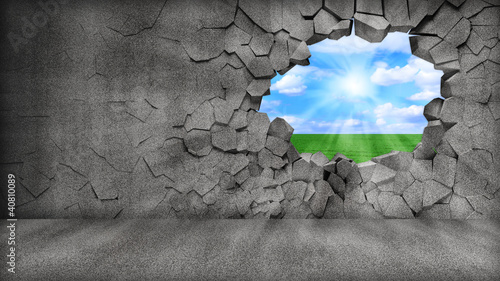 Poster Gris Grungy Broken Concrete Wall with beautiful landscape behind