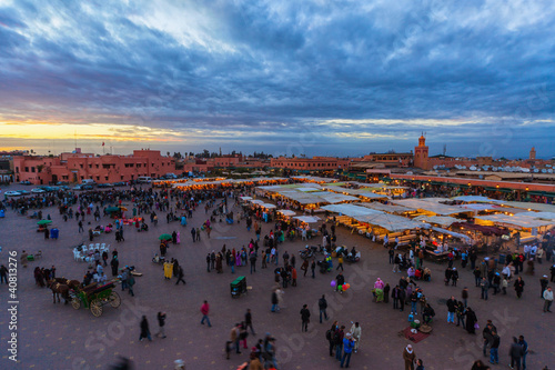Papiers peints Maroc The Jemaa el-Fnaa Square at sunset, Marrakech, Morocco.