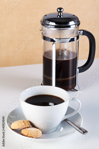 Canvas Prints Coffee beans Cup of coffee with cafetiere and amaretti biscuits