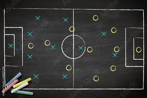 soccer game strategy drawn with chalk on a blackboard. Canvas Print