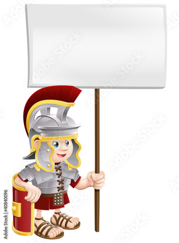 Fotografie, Obraz  Cute Roman soldier holding sign board