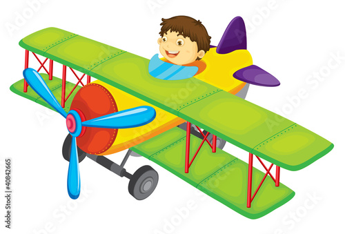 Fotobehang Vliegtuigen, ballon Flying boy