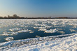 Ice floe flowing on Wisla river at winter