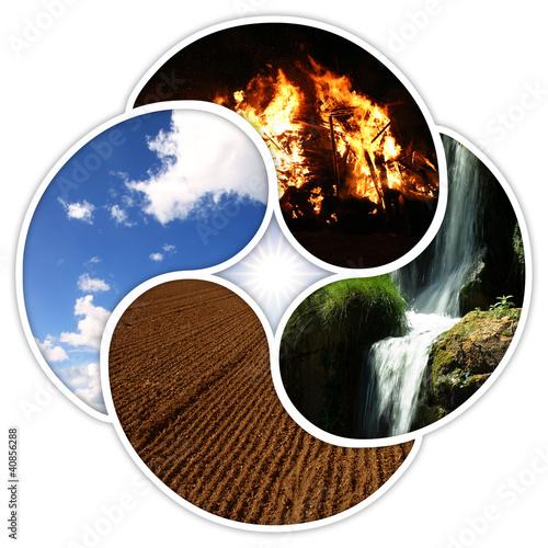 Fotografie, Obraz  Vier Elemente - Feuer Wasser Erde Luft