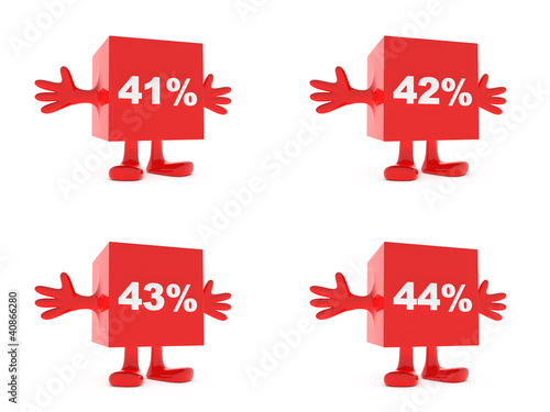 Fotografia  41, 42, 43, 44 Percent discount happy figure