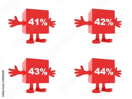 Poster  41, 42, 43, 44 Percent discount happy figure