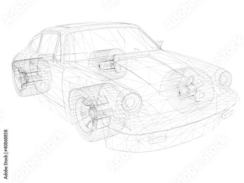 Fotografie, Obraz  3D Zeichnung vom Porsche