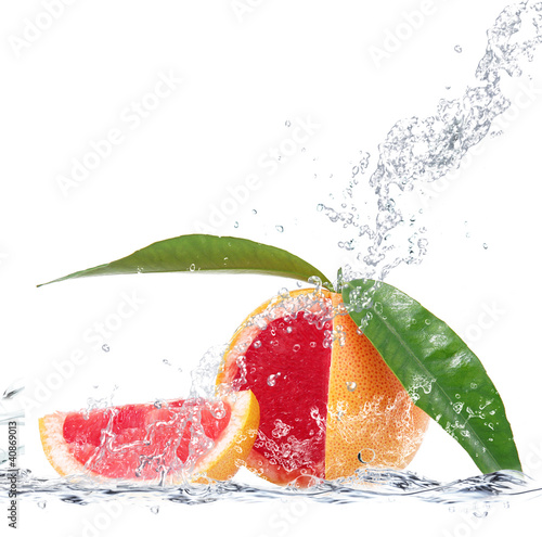 Poster Opspattend water pompelmo splash