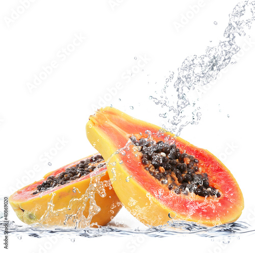 Foto op Canvas Opspattend water papaya splash
