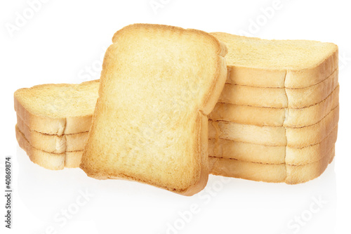 Rusk Bread Toasts On White Clipping Path Included Buy