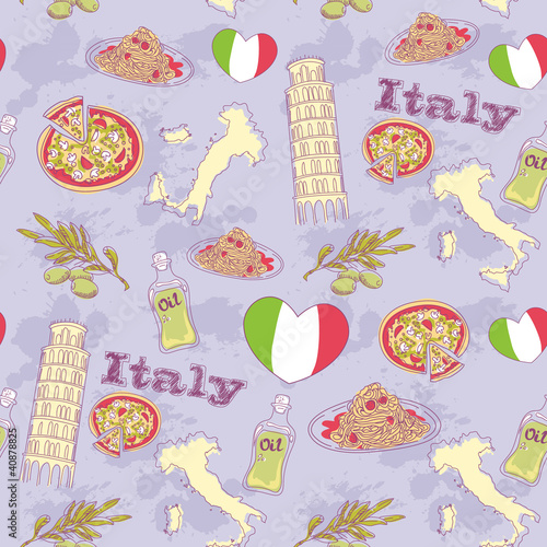 Poster Doodle Italy travel grunge seamless pattern