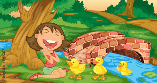 La pose en embrasure Forets enfants Girl meets ducklings