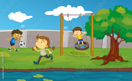 Canvas Prints River, lake Kids in the park