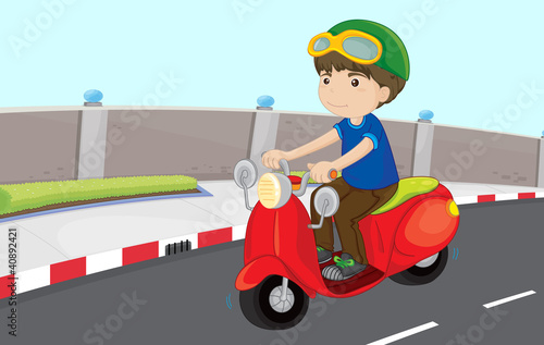 Papiers peints Motocyclette Boy on a scooter