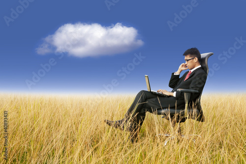 Fotografie, Obraz  Cloud Computing: Businessman working anywhere with laptop