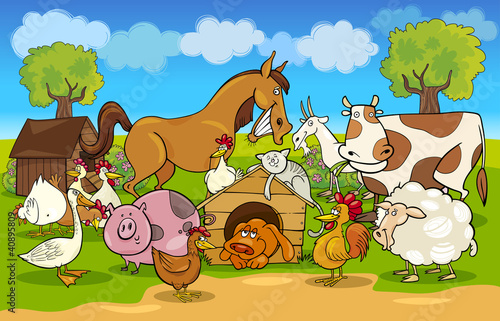 Poster Pony cartoon rural scene with farm animals