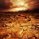 Stormy sky over desert.