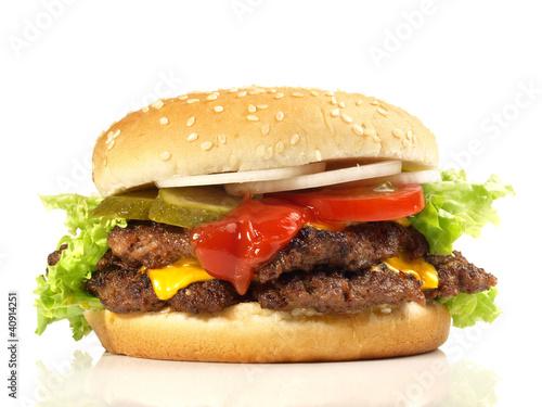 Staande foto Snack Double Cheeseburger