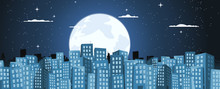 Cartoon Buildings Background In The Moonlight