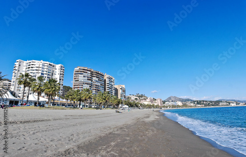 Aluminium Prints New Zealand Malaga Beach and City - Spain