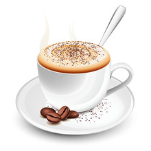 Cup Of Hot Cappuccino