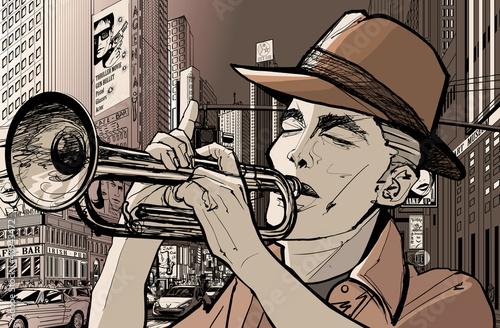 In de dag Muziekband trumpeter in new-york