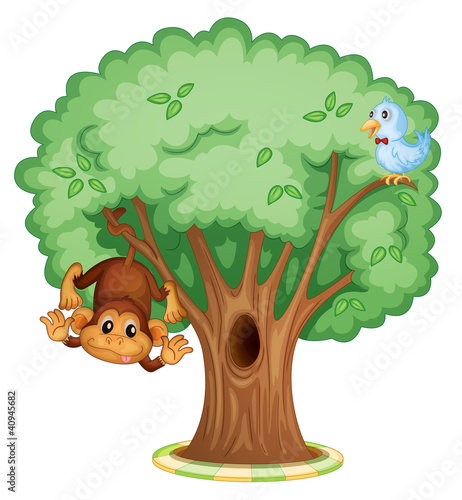 Deurstickers Vogels, bijen Animals in a tree