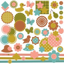 Scrapbook Set Of Objects On Wh...