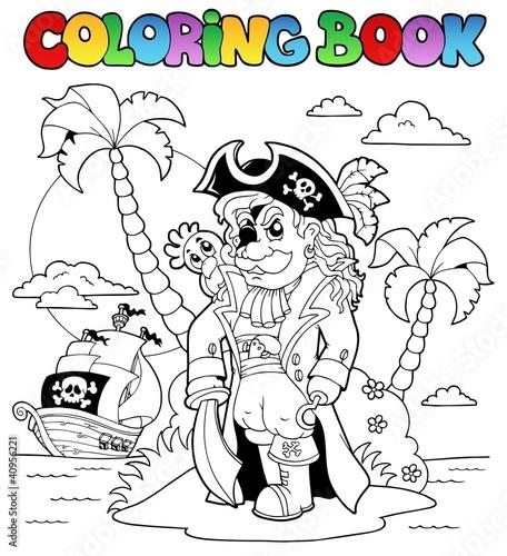 Tuinposter Doe het zelf Coloring book with pirate theme 9
