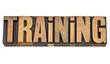 training word in letterpress type