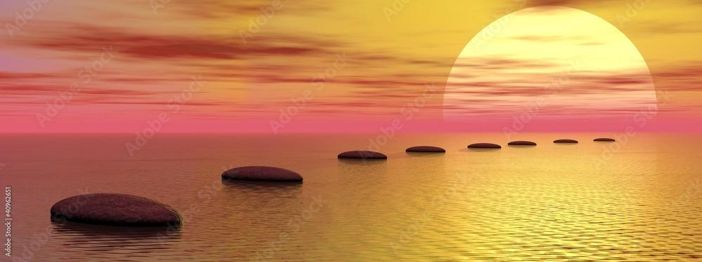 Doppelrollo mit Motiv - Steps to the sun