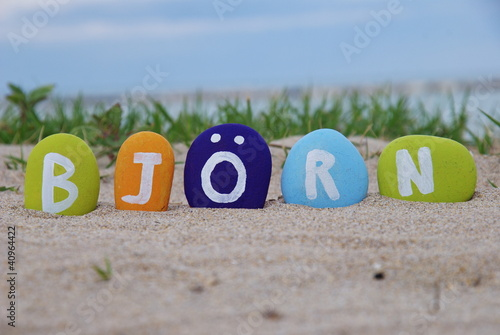 фотография  Bjorn, male name on colourful pebbles