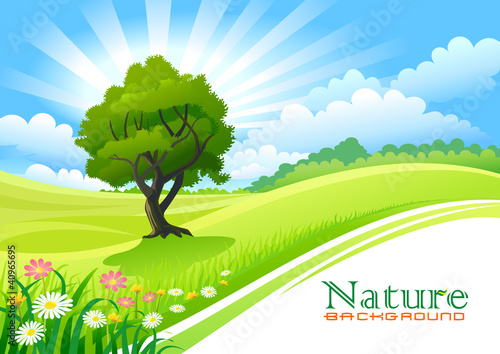 Deurstickers Lime groen Tree with Graphic Wave and Flowing Green Field