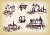 Vector hand drawn castles with vineyards