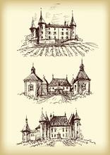 Vector Hand Drawn Castles