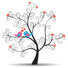 Romantic Tree With In-love Couple Birds