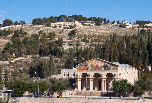 Cuadros en Lienzo Mount of Olives and Church of All Nations in Jerusalem, Israel